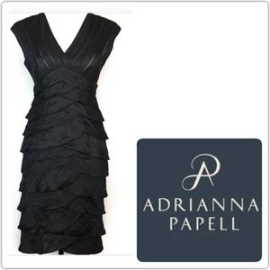 Adrianna Papell Woman v neck black dress
